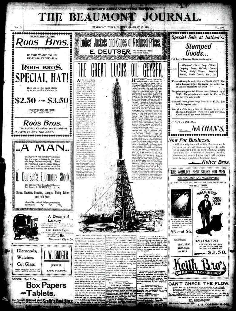 Front page Jan 15th 1901 Beaumont Journal